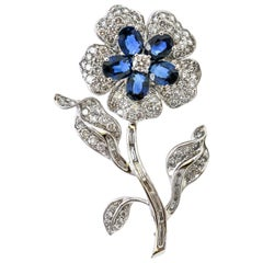 18 Karat White Gold Diamond Sapphire Flower Brooch