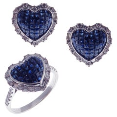 18 Karat White Gold Diamond Sapphire Invisible Small Heart Earring Ring Set