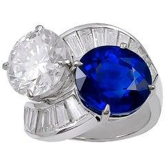 18 Karat White Gold Diamond, Sapphire Ring
