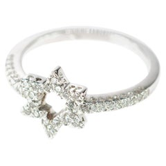 18 Karat White Gold Diamond Sexagram Hexagone Geometric Six Pointed Star Ring
