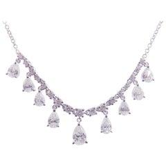 18 Karat White Gold Diamond Simple Small Pear Drops Necklace