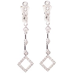 18 Karat White Gold Diamond Single Strand Dangle Earrings