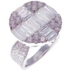 18 Karat White Gold Diamond Sleek Baguette Round Fancy Ring