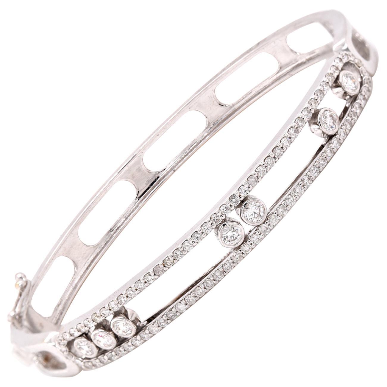 18 Karat White Gold Diamond Slide Bangle Bracelet