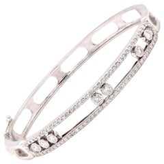 18 Karat White Gold Diamond Slide Bangle Bracelet