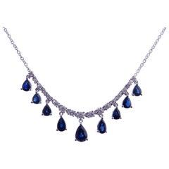 18 Karat White Gold Diamond Small Blue Sapphire Pear Drops Simple Bar Necklace