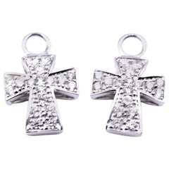 18 Karat White Gold Diamond Small Cross Earring Enhancers