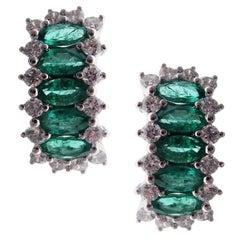 18 Karat White Gold Diamond Small Emerald Huggy Modern Stud Earrings