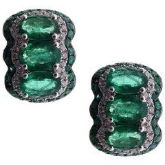 18 Karat White Gold Diamond Small Emerald Huggy Stud Earrings