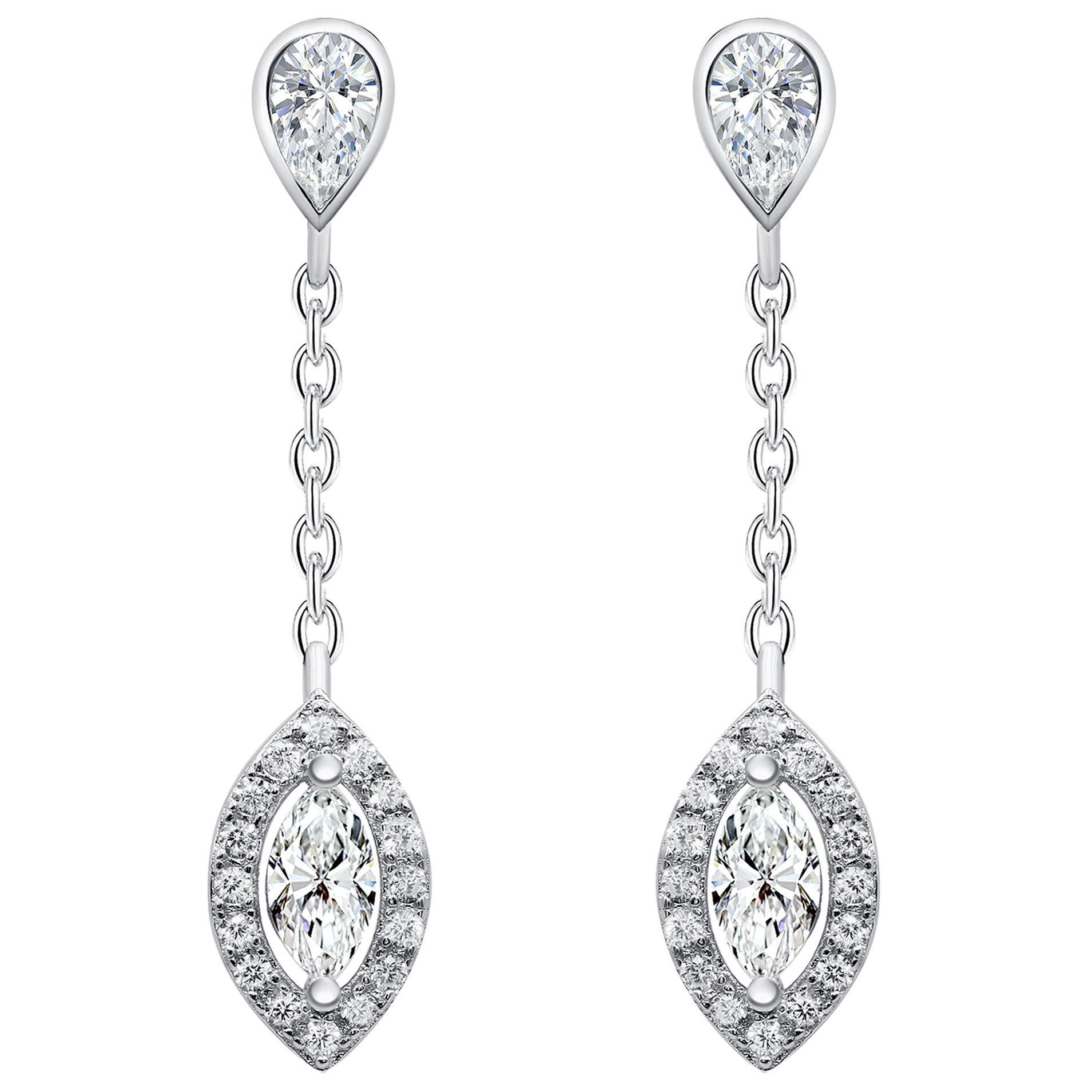 18 Karat White Gold Diamond Small Leaf Drop Earrings