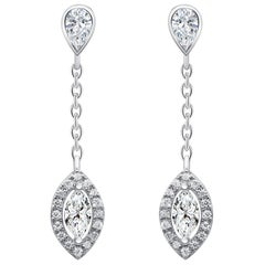 18 Karat White Gold Diamond Small Leaf Drop Earrings