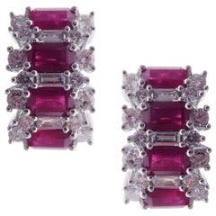 18 Karat White Gold Diamond Small Ruby Huggy Baguette Stud Earrings
