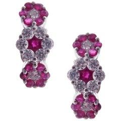 18 Karat White Gold Diamond Small Ruby Huggy Flower Stud Earrings