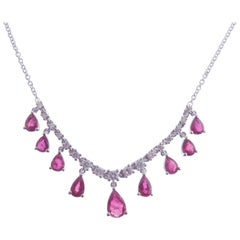 18 Karat White Gold Diamond Small Ruby Pear Drops Simple Bar Necklace