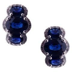 18 Karat White Gold Diamond Small Sapphire Huggy Modern Stud Earrings