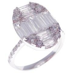 18 Karat White Gold Diamond Small Sleek Oval Baguette Fancy Ring