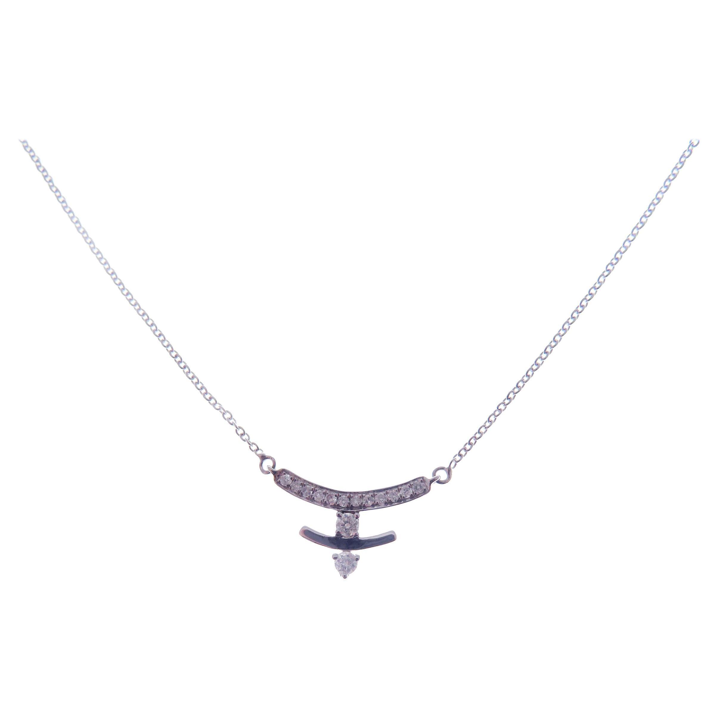 18 Karat White Gold Diamond Small U Shape Delicate Pendant Necklace