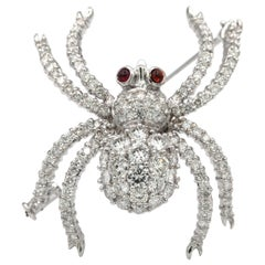 18 Karat White Gold Diamond Spider Brooch Pin