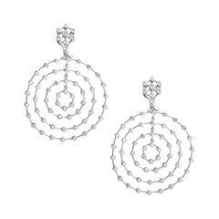 18 Karat White Gold Diamond Spiral Cocktail Earrings