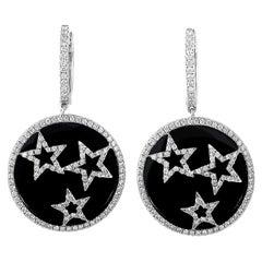 18 Karat White Gold Diamond Stars Dangle Earrings