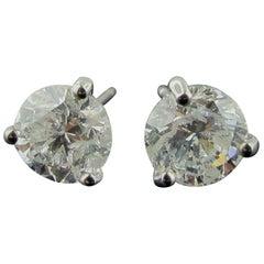 18 Karat White Gold Diamond Stud Earrings 1.98 Carat