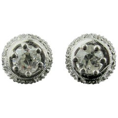 18 Karat White Gold Diamond Stud Earrings with Pave Ring Around Center Diamond