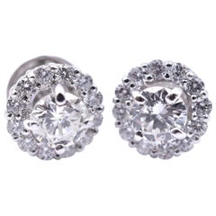 18 Karat White Gold Diamond Stud with Halo Earrings