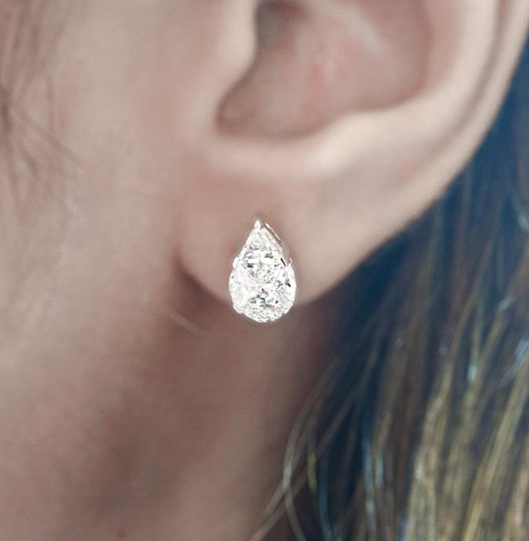 Modern 18 Karat White Gold Diamond Studs For Sale