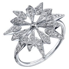 18 Karat White Gold Diamond Sunburst Ring