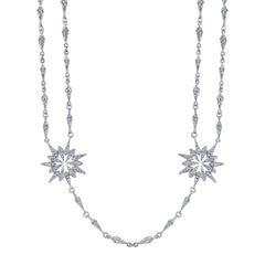 18 Karat White Gold Diamond Sunburst Starburst Necklace with Detachable Pendant