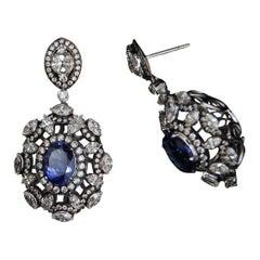 18 Karat White Gold, Diamond & Tanzanite Earrings