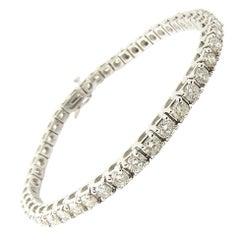 18 Karat White Gold Diamond Tennis Bracelet 5.98 Carat