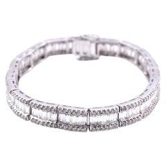 18 Karat White Gold Diamond Tennis Bracelet Signed 'BJC Samuel Benham'