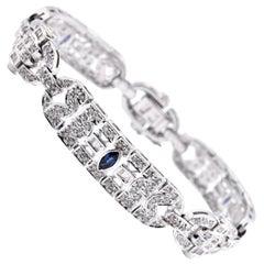 18 Karat White Gold 3.90cttw Diamond and Sapphire Art Deco Style Bracelet
