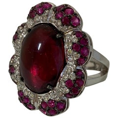 18 Karat White Gold Diamond Tourmaline and Ruby Cocktail Ring