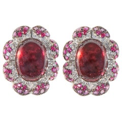 18 Karat White Gold Diamond Tourmaline and Ruby Stud Earrings