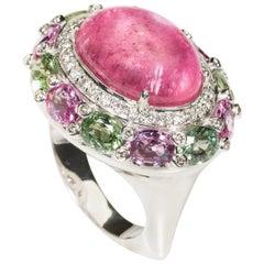 18 Karat White Gold Diamond, Tourmaline and Sapphire Cocktail Ring