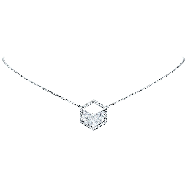 18 Karat White Gold Diamond Triangle Halo Necklace