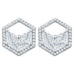 18 Karat White Gold Diamond Triangle Halo Stud Earrings