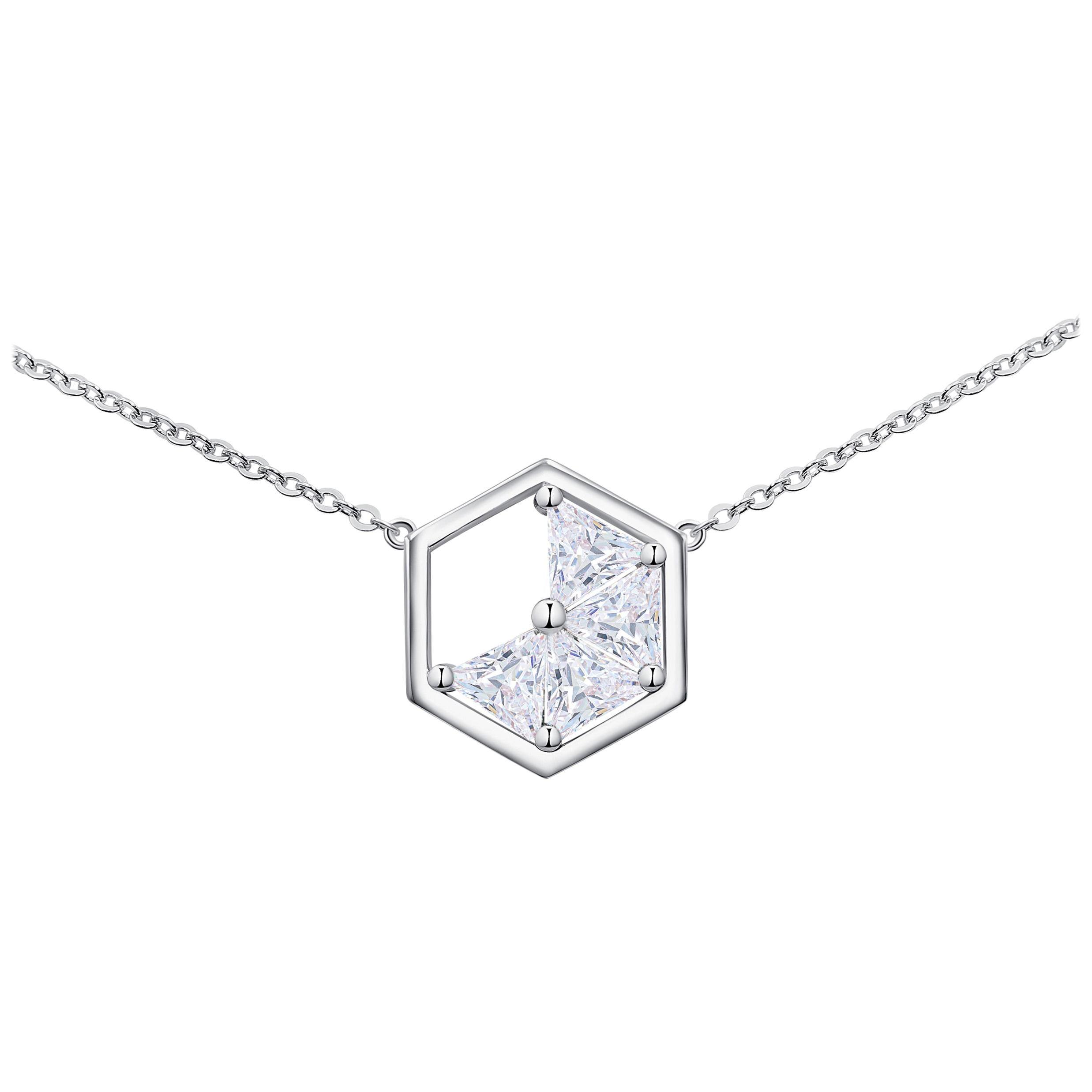 18 Karat White Gold Diamond Triangle Necklace