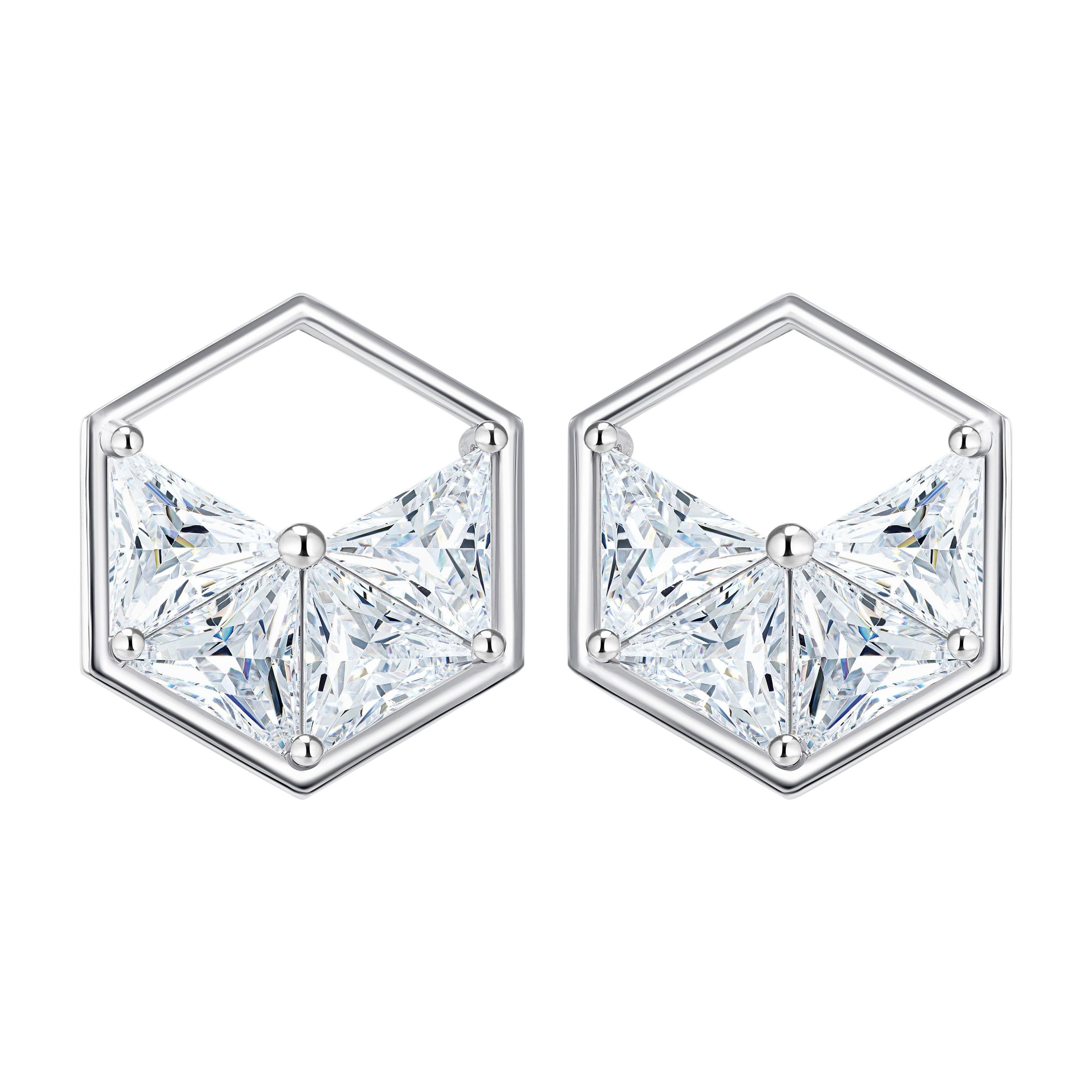 18 Karat White Gold Diamond Triangle Stud Earrings