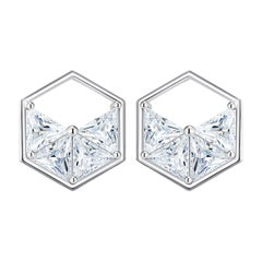 18 Karat White Gold Diamond Triangle Stud Earrings