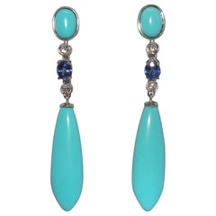 18 Karat White Gold Diamond Turquoise and Sapphire Dangle Earrings