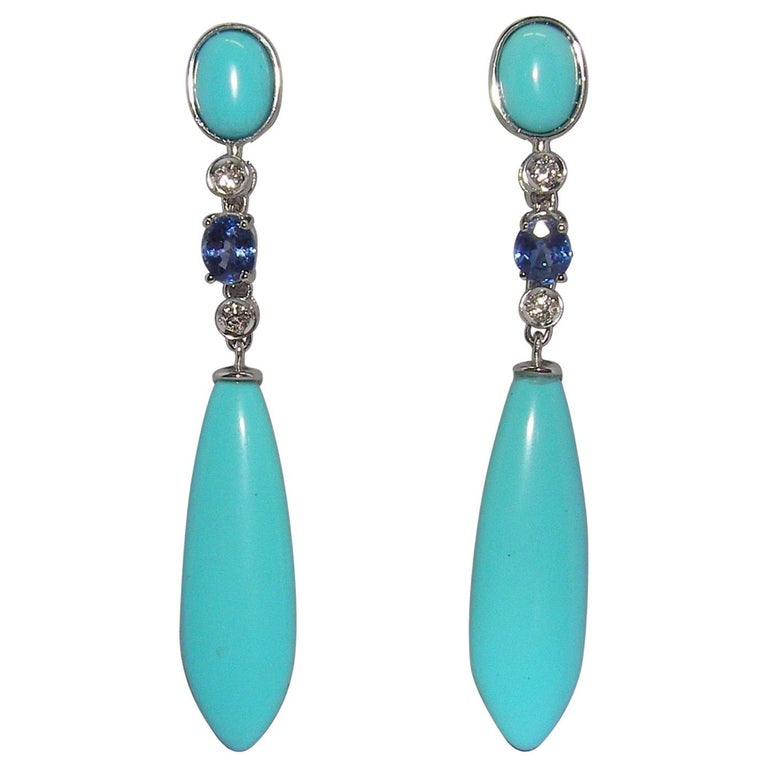 18 Karat White Gold Diamond Turquoise and Sapphire Dangle Earrings For Sale