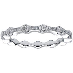 18 Karat White Gold Diamond Wave Band