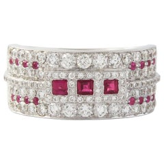 18 Karat White Gold Diamond with Ruby Stone Classic Ring