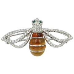 18 Karat White Gold Diamonds and Honey Quartz Bee Brooch