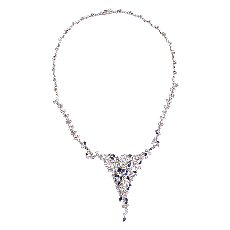 18 Karat White Gold Diamonds and Sapphire Necklace 'Collier'