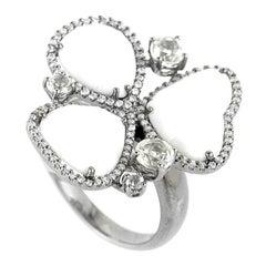 18 Karat White Gold Diamonds and White Onyx Ring