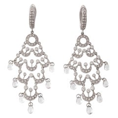 18 Karat White Gold Diamonds Chandelier Earrings